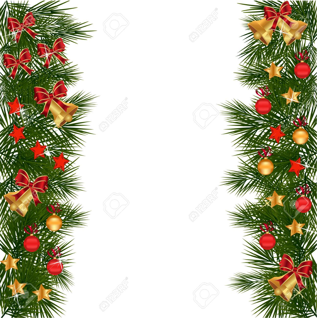 Christmas Leaves.Christmas Garland With Decorations And Green Leaves Over White