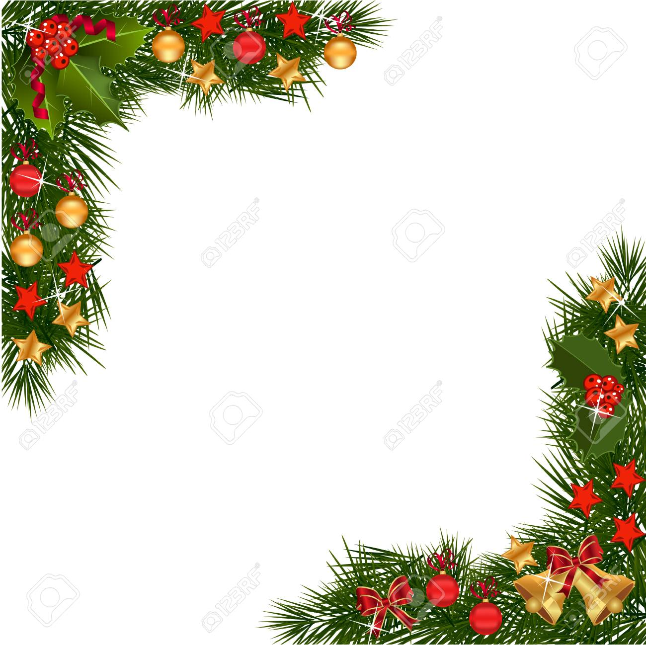 A Traditional Christmas Garland Made With Red Berries And