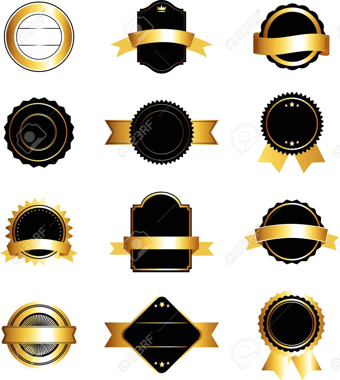 Set of black and gold labels ribbons sticker and badges design elements stock