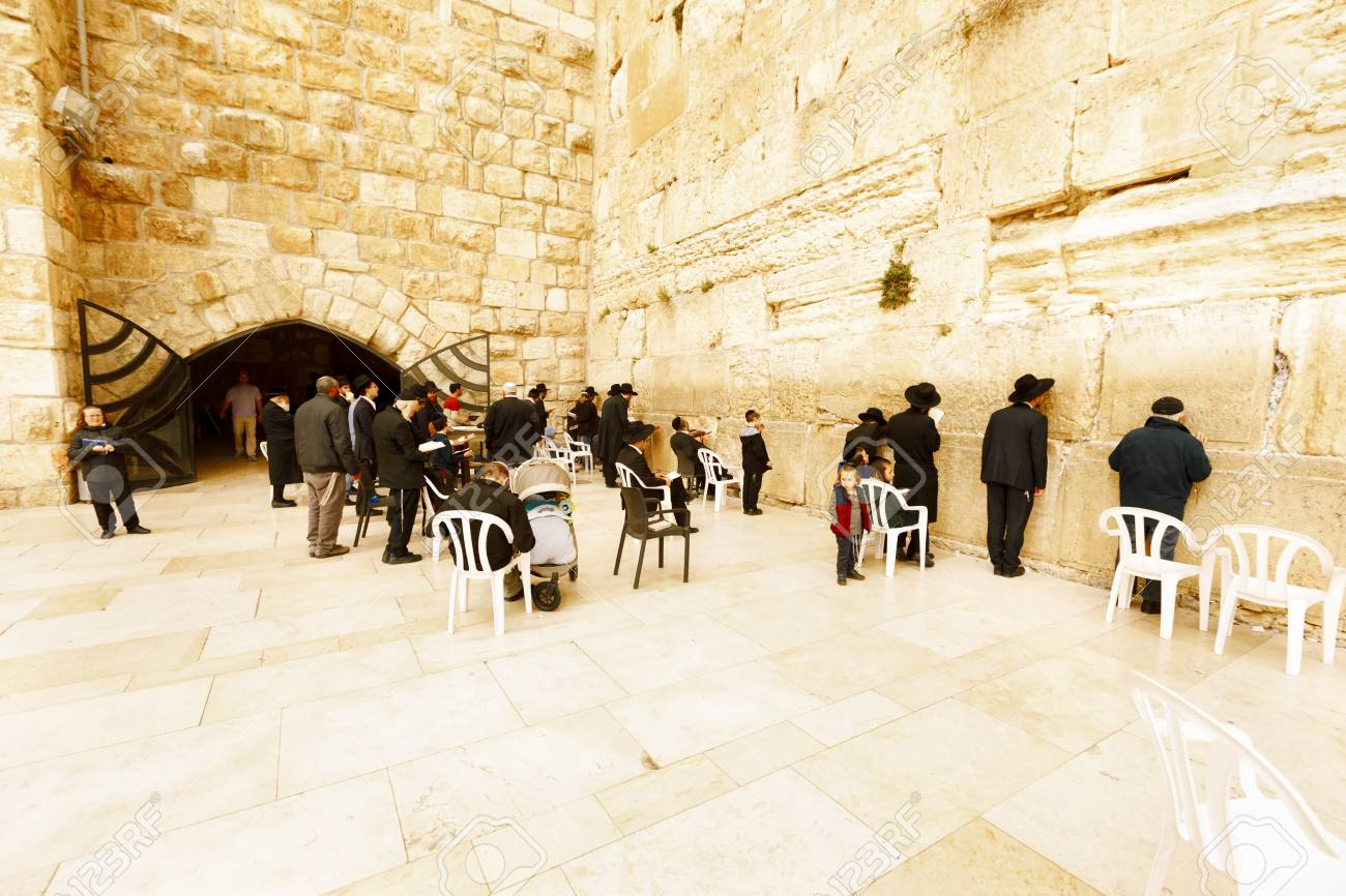 Jerusalem, Israel-March 14, 2017: Jews Pray At The Western Wall ...