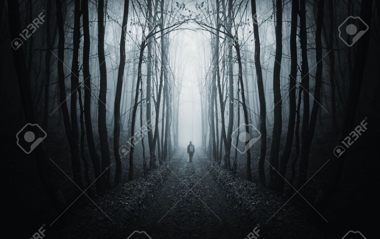 man walking on a path in a strange dark forest with fog Stock Photo - 14402714
