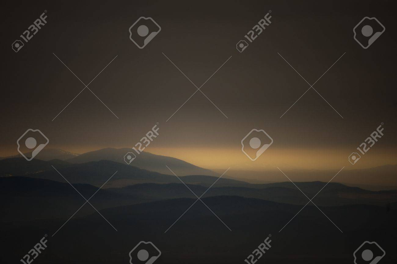 dark landscape with mountains at sunset Stock Photo - 14510176