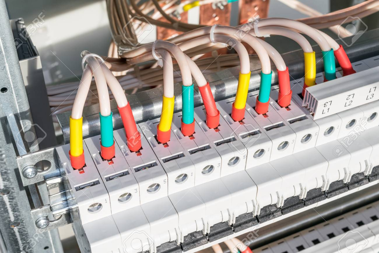 Connecting Cables With Cable Lugs To Circuit Breakers In The Stock Wiring A Network Switch Electrical Control Panel On Artboard