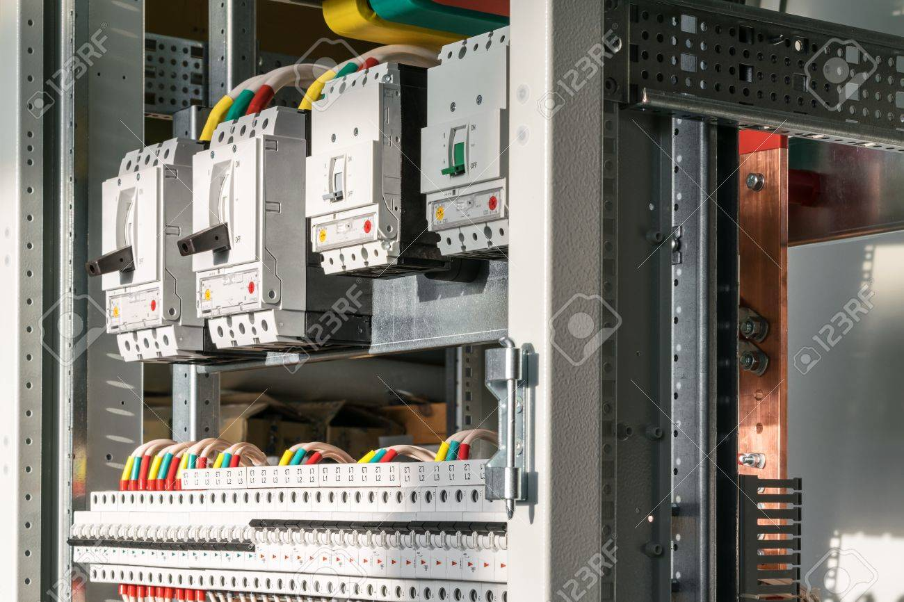 Connecting Cables With Cable Lugs To Circuit Breakers In The Electrical Control Panel On Artboard