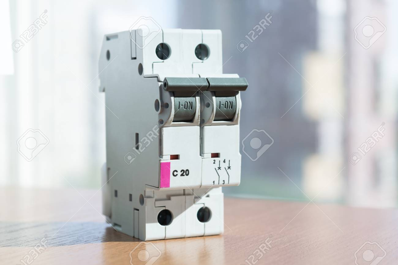 Two-pole Modular Circuit Breaker Is On The Table, Front View ...