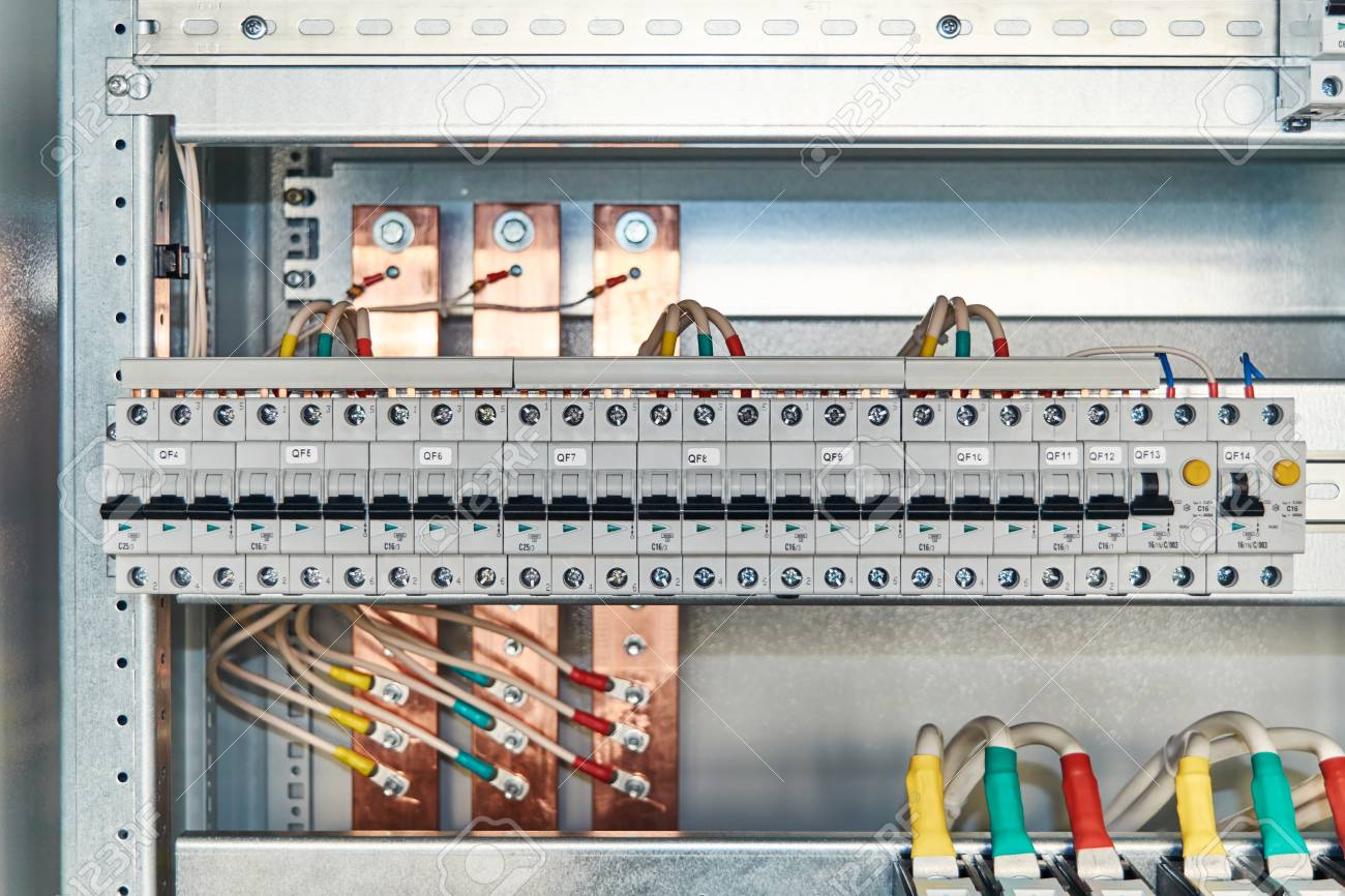 Modular Electrical Circuit Breakers And Differential Switches Circuits In Cabinet Wires Connected To The