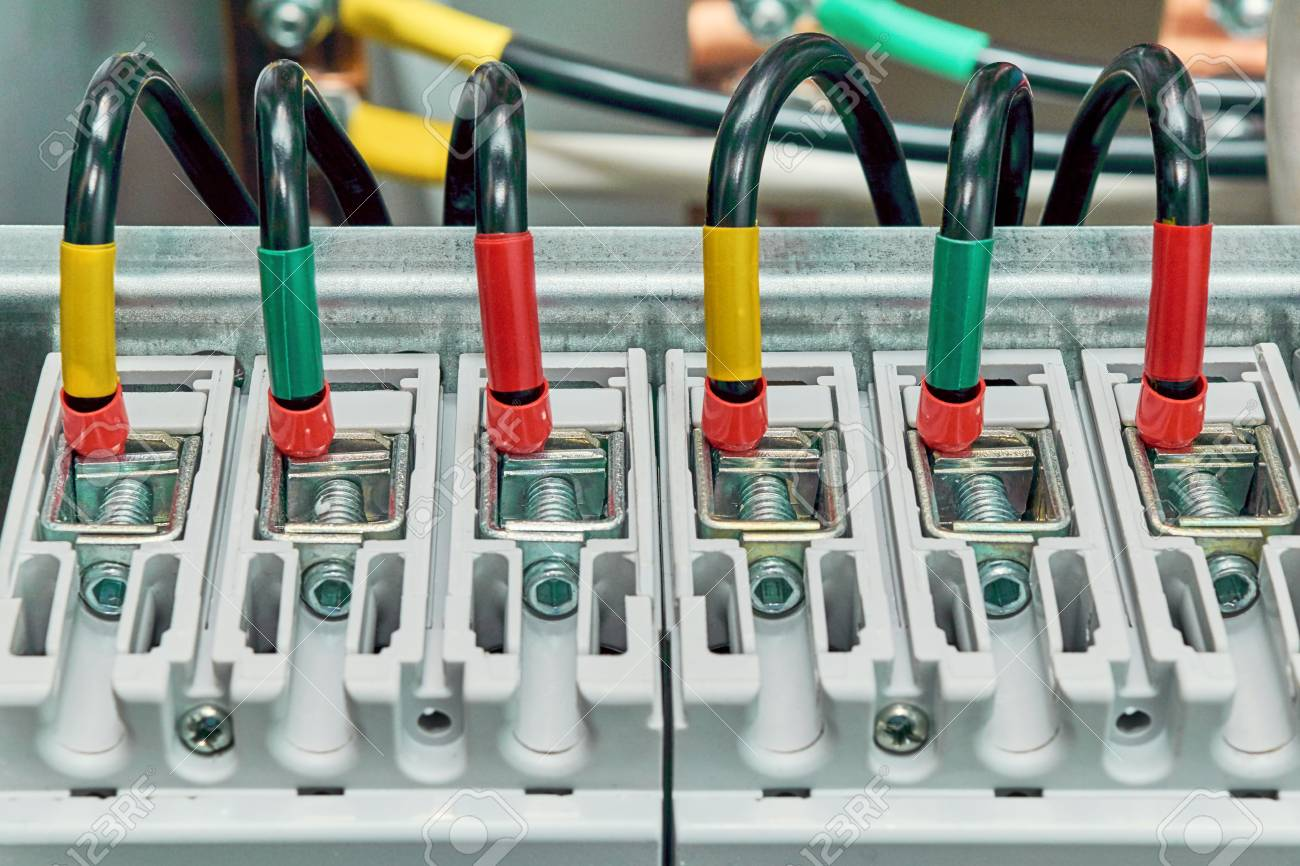A Range Of Electrical Wires Or Cables Are Connected To The Power ...