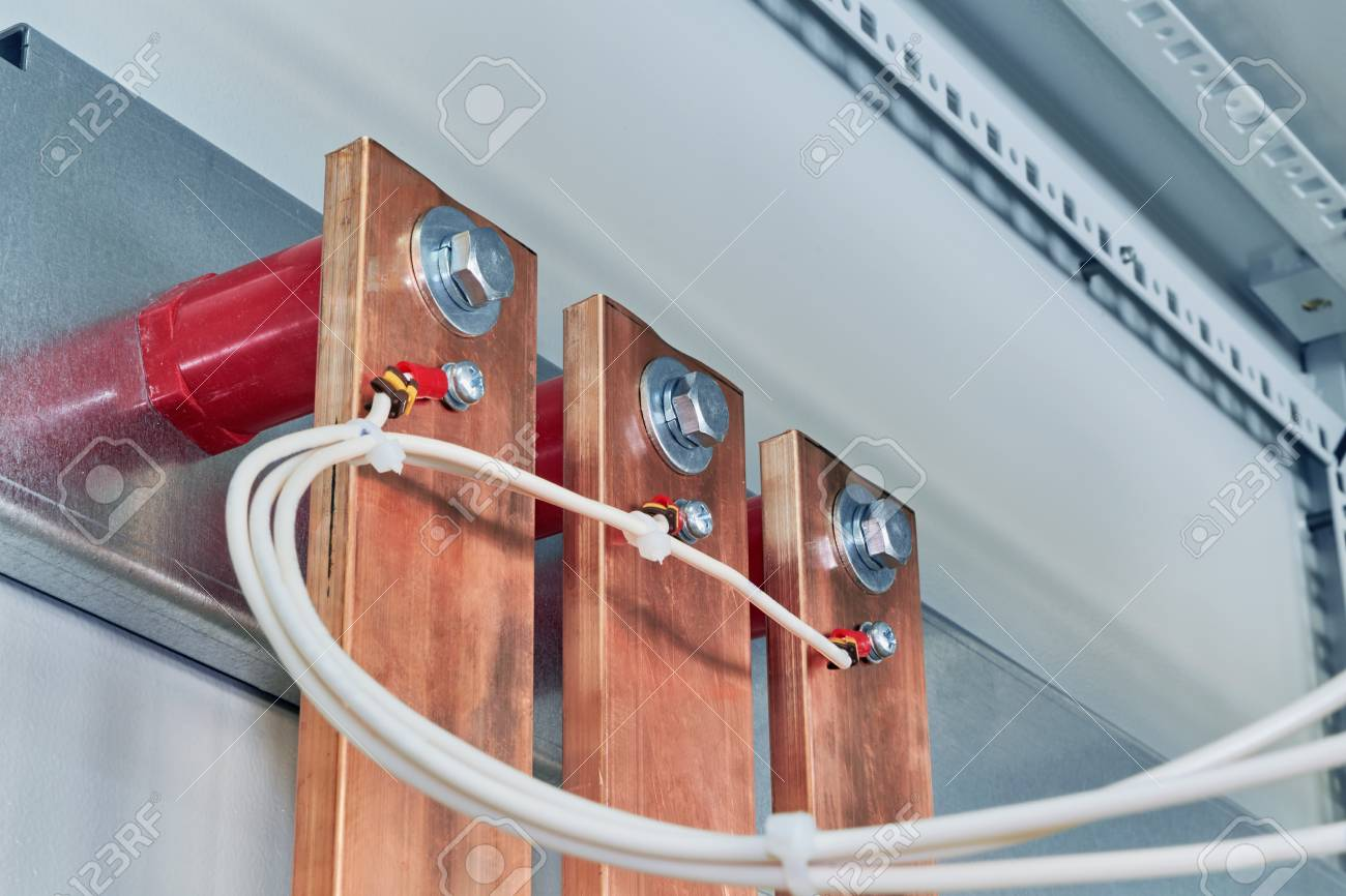 Electrical Wires Are Connected To Copper Busbars. Busbars Are ...