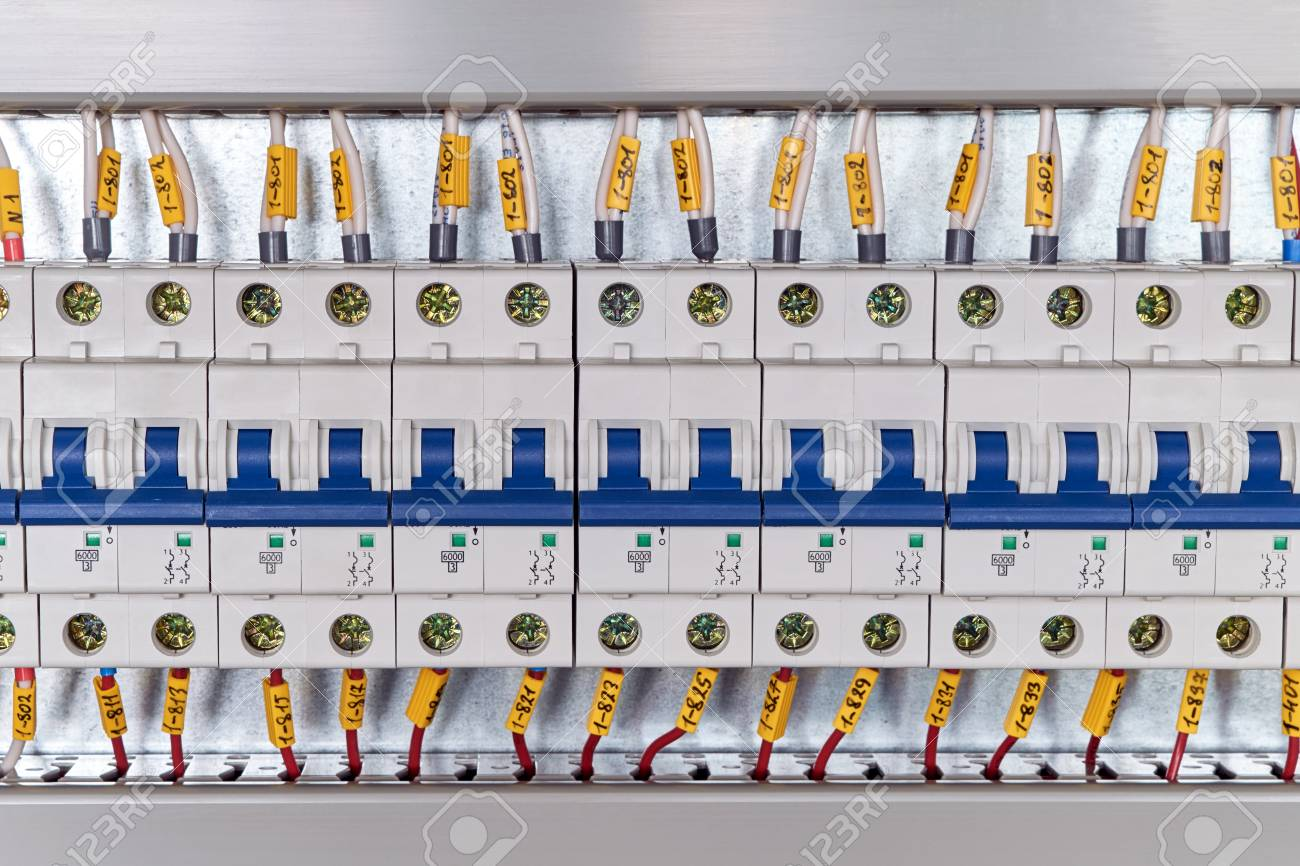 Range Of Electrical Modular Circuit Breakers In Electrical Cabinet