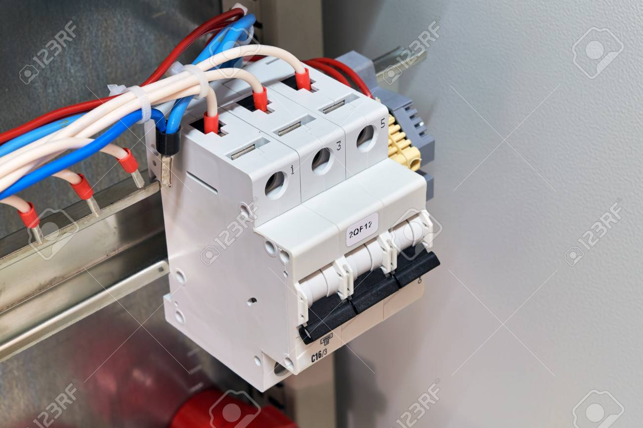 Circuit Breaker With Connected Wires Or Cables In Electrical.. Stock ...