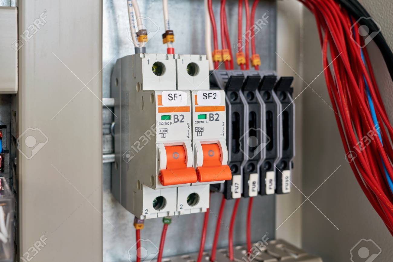 In The Electrical Cabinet Circuit Breakers And Fuse Holders Stock Relay Breaker Intermediate Cable Channel For