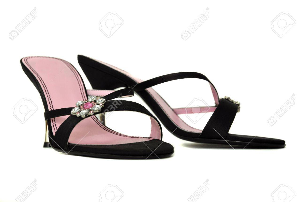 Pink And Black High Heel Shoes