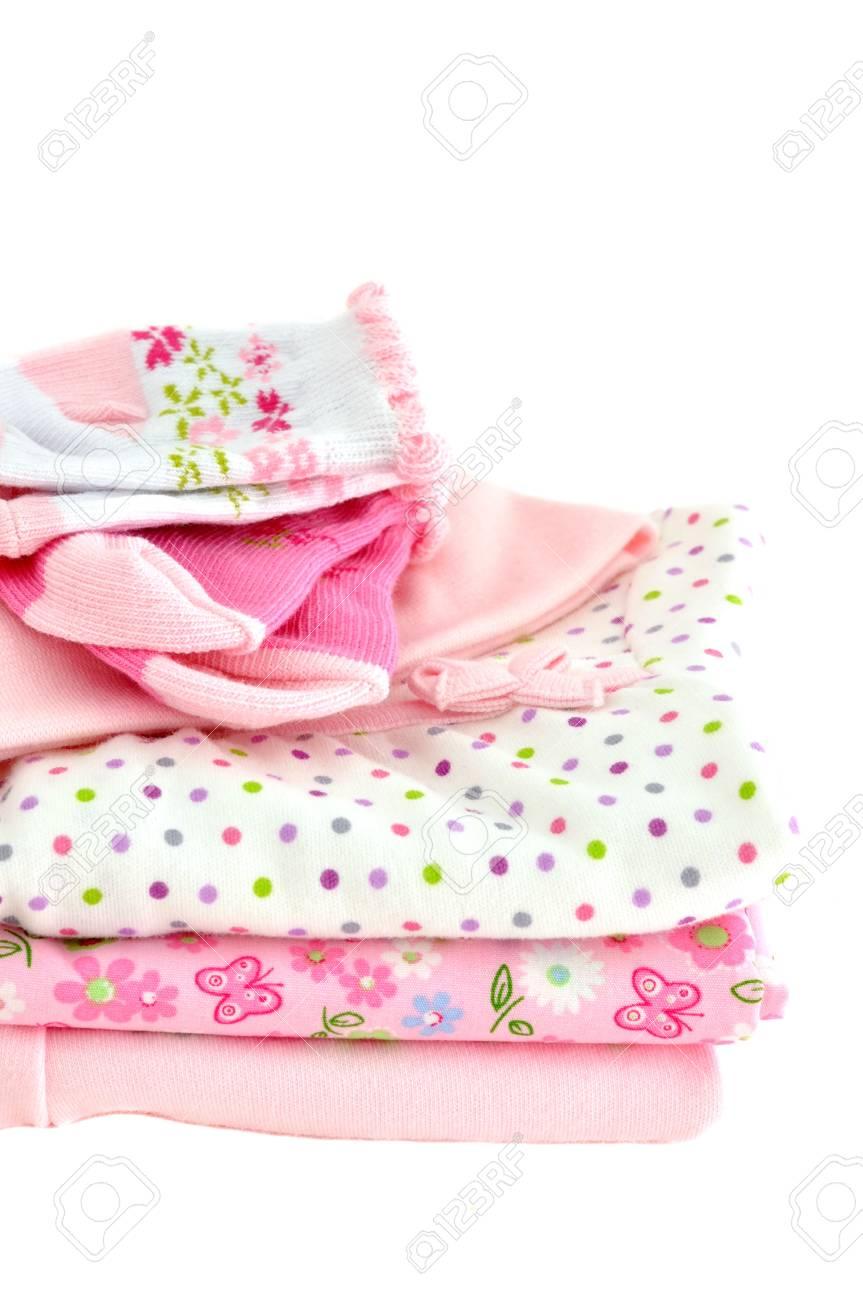 Roze Babykleding.Stapel Van Roze Babykleding Gea Soleerd Op Wit Royalty Vrije Foto
