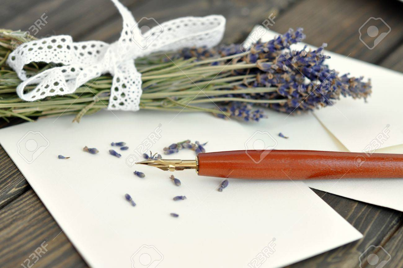 Fountain pen on empty letter with a bouquet of dried lavender on a wooden table Stock Photo - 10478020