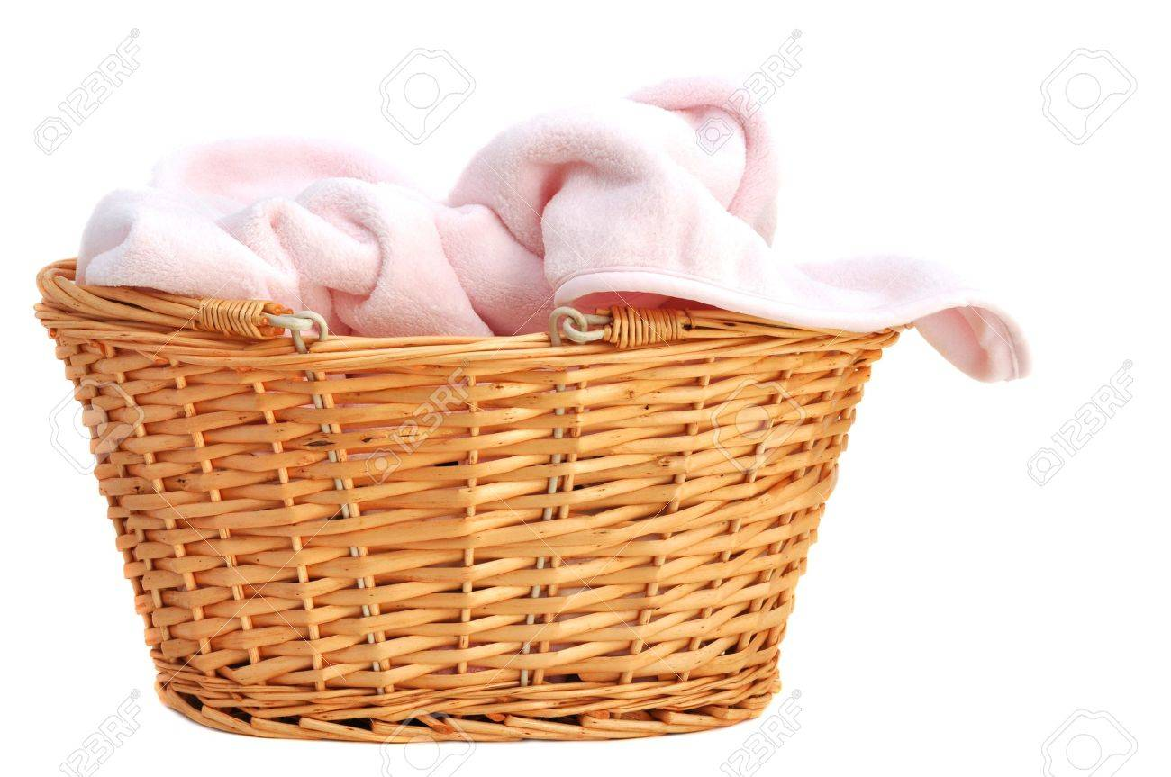 Soft Pink Baby Blanket In A Wicker Basket Isolated On White Stock Photo Picture And Royalty Free Image Image 10870070