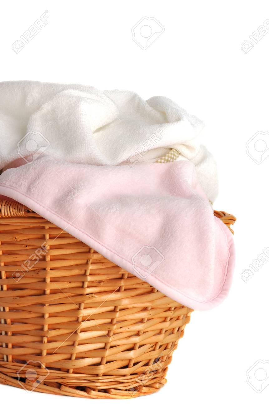 Soft Pink Baby Blanket And White Towel In A Wicker Basket Isolated Stock Photo Picture And Royalty Free Image Image 10870069