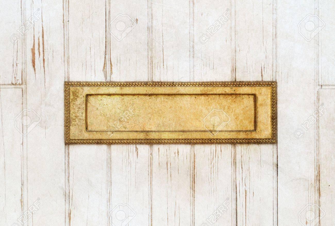 White Wood Door Texture old golden mailbox in the white wooden door stock photo, picture