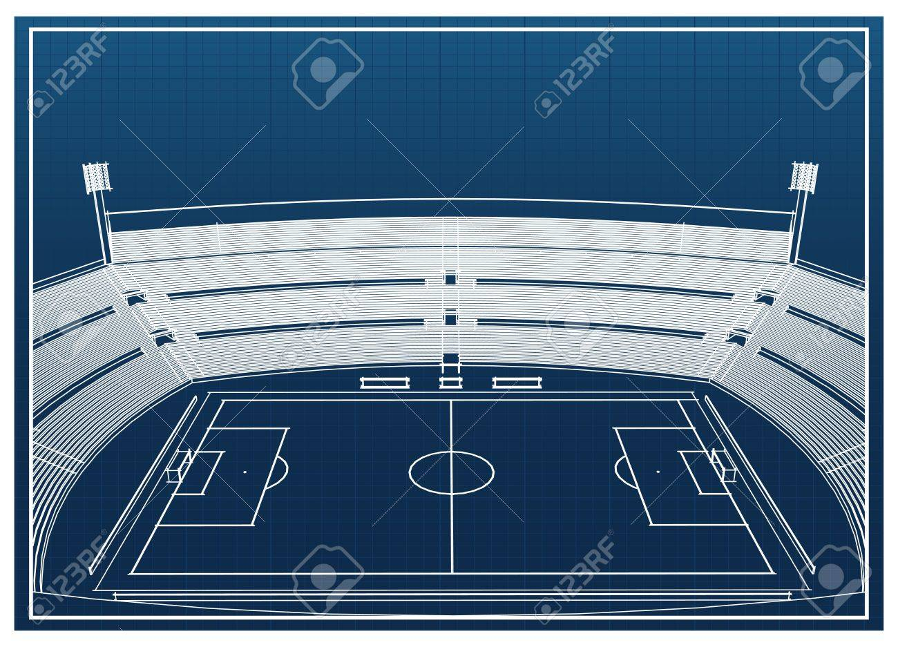 blueprint of foodbal soccer stadium royalty free cliparts