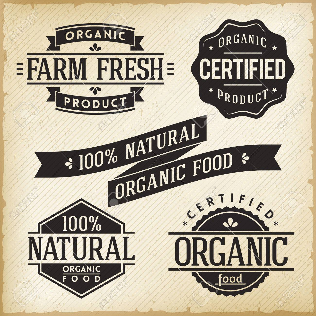 collection of vintage labels for organic food product royalty free