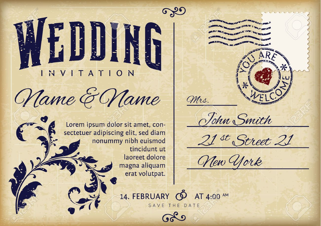 Retro Wedding Invitation Design On Old Grunge Postcard Royalty ...