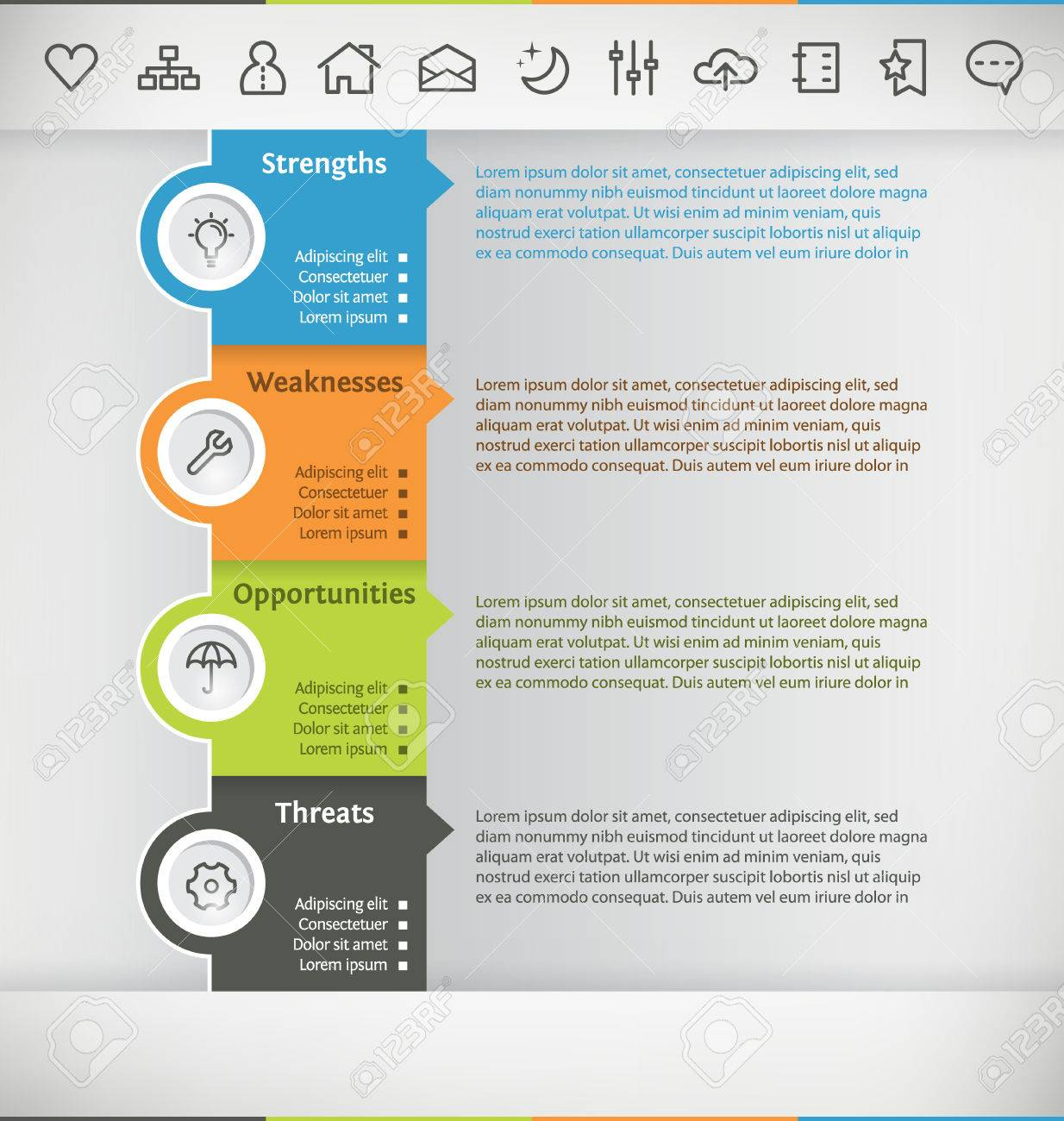 Plantilla Para Infografía Con Icon Set Ilustraciones Vectoriales ...