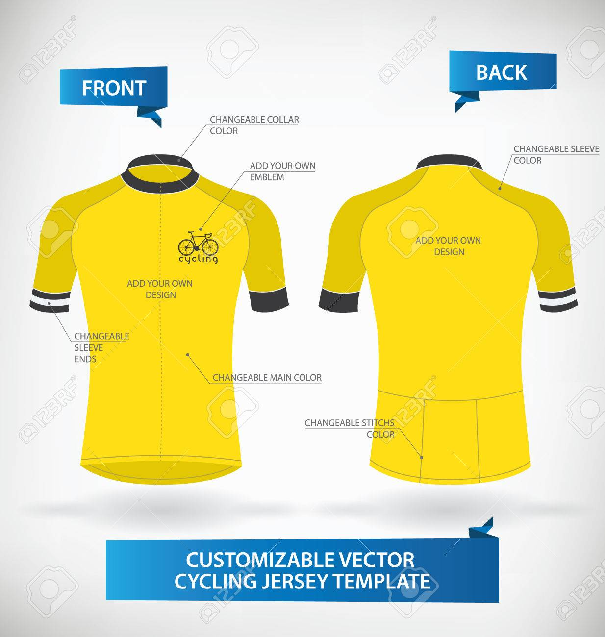 Design your own t-shirt front and back - Football Jersey Customizable Vector Cycling Jersey Template
