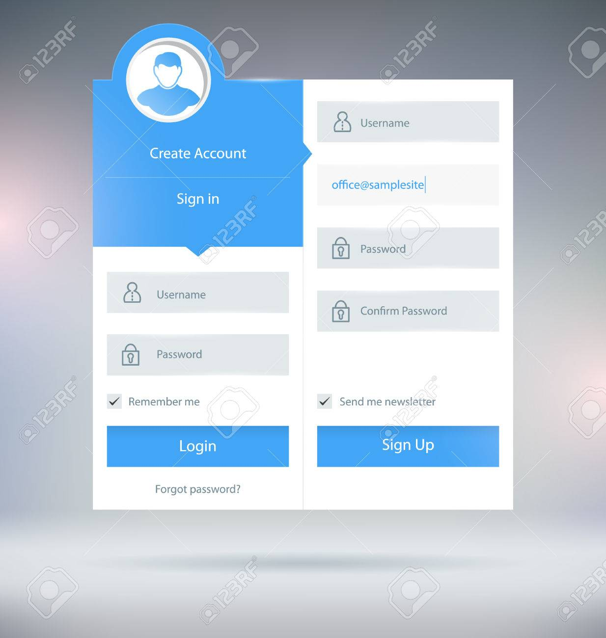 login form ui design vector template royalty free cliparts vectors