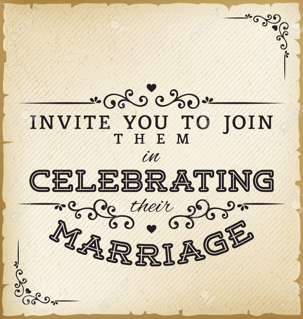 Vintage wedding invitation on old paper background royalty free vector vintage wedding invitation on old paper background stopboris Choice Image