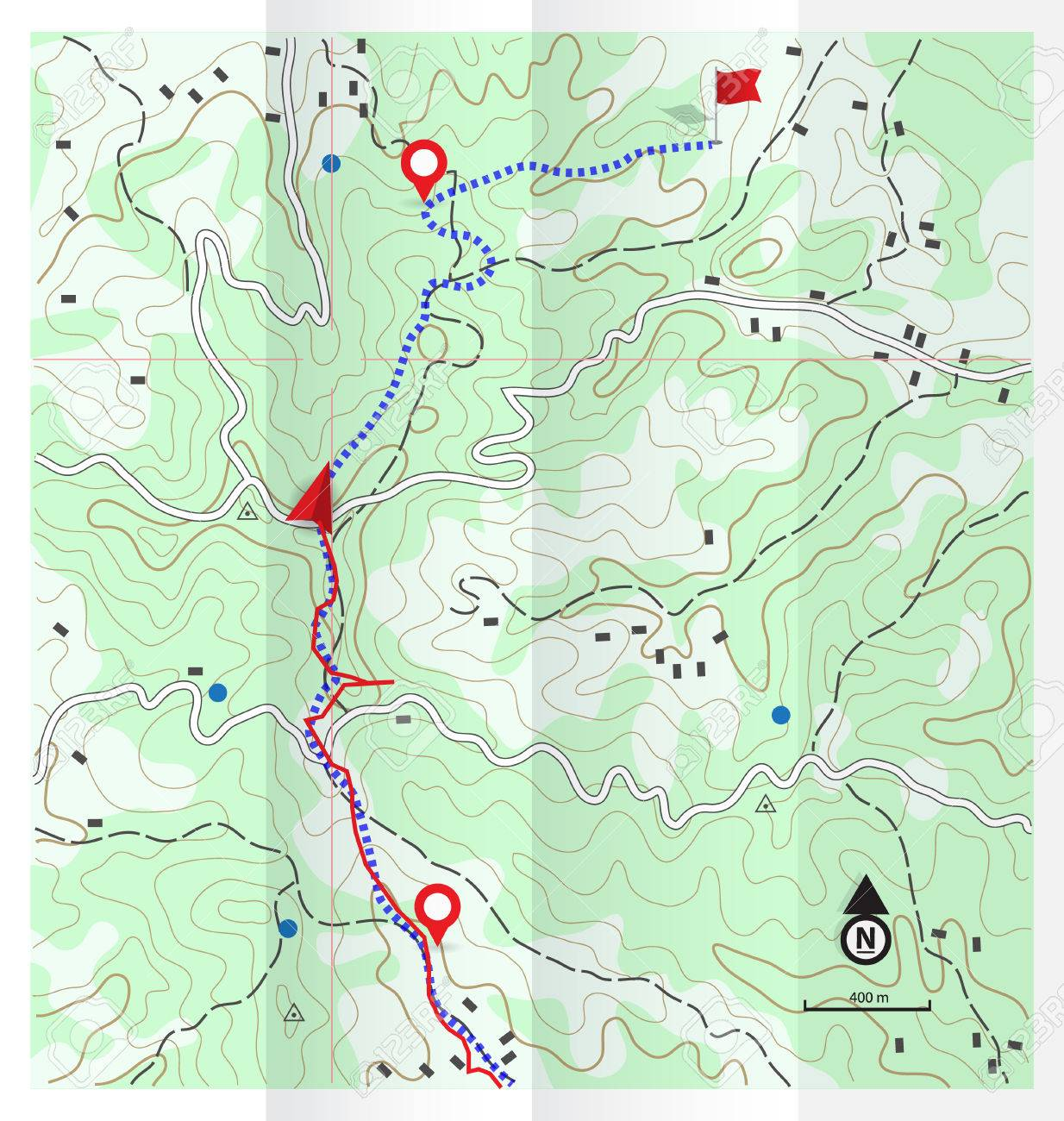 Abstract Topographic Map With Hiking Route Background Royalty Free - Topographic hiking maps
