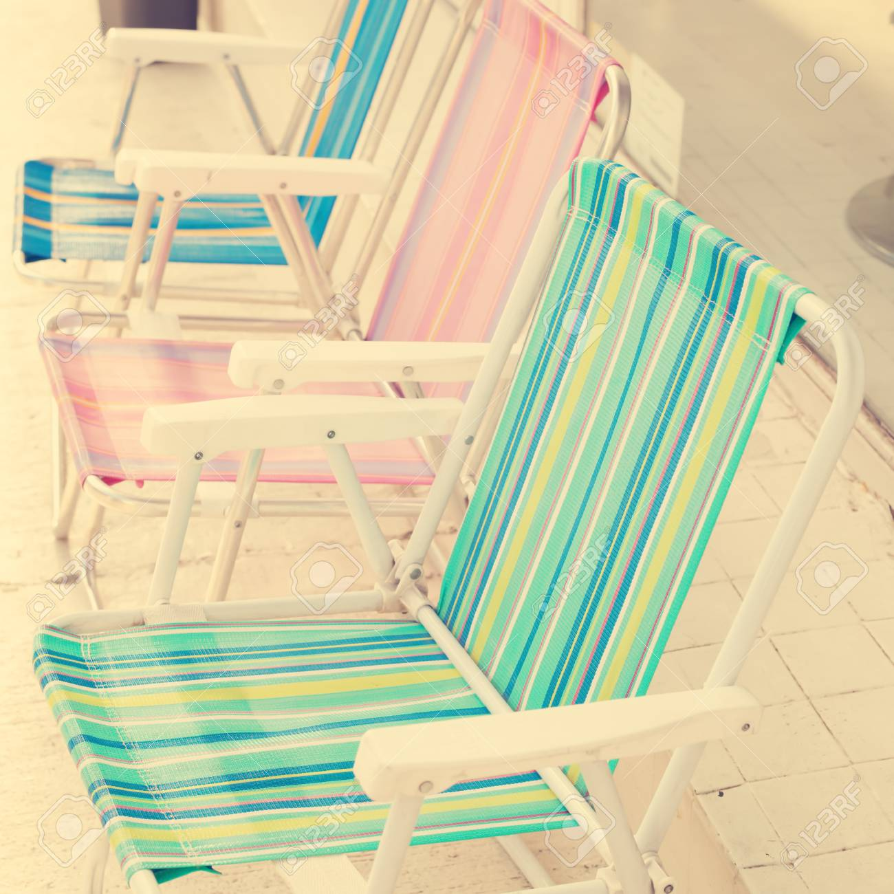 Vintage Beach Chairs Stock Photo Picture And Royalty Free Image Image 32676651