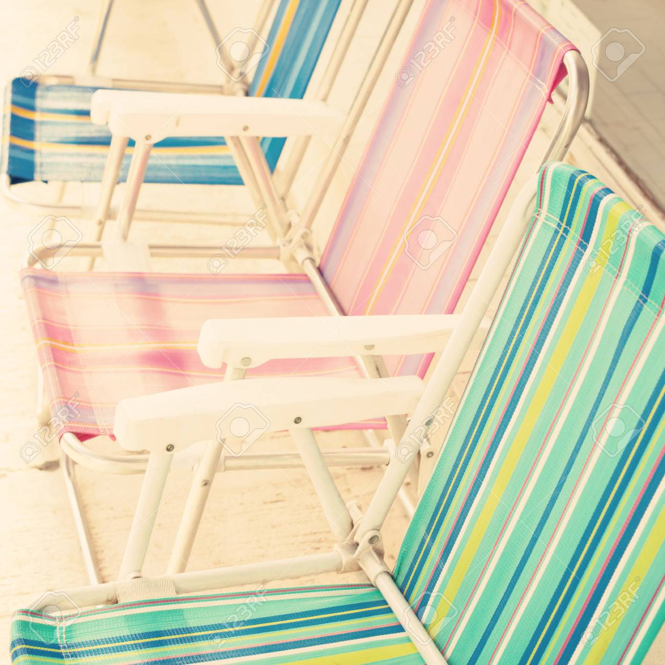 Vintage Beach Chairs Stock Photo Picture And Royalty Free Image Image 32676652