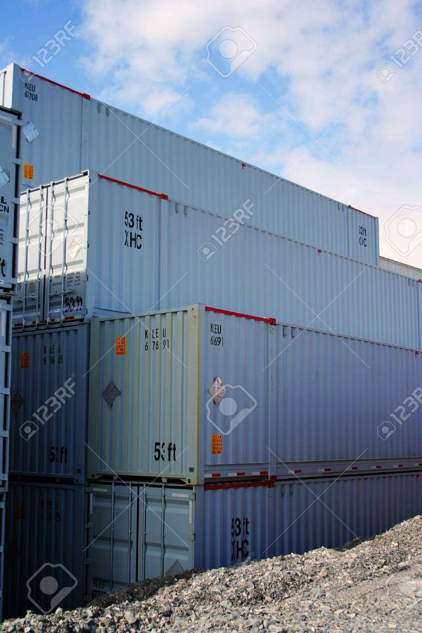 Containers standing in yard stacked on each other Stock Photo - 948219