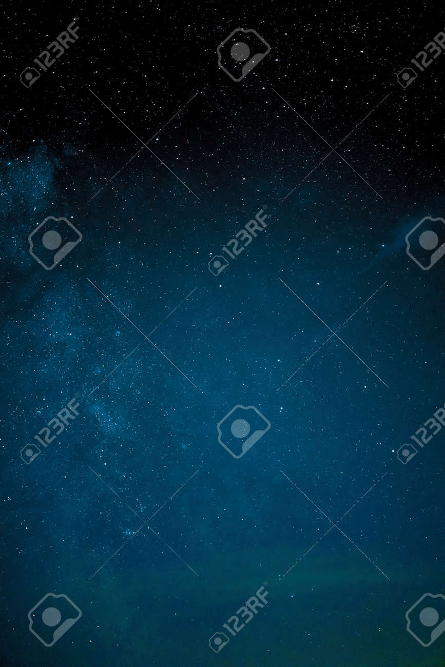 Milky way galaxy stars space dust in the universe, Long exposure photograph, with grain. Summer night sky Milkyway nightscape - 157935959