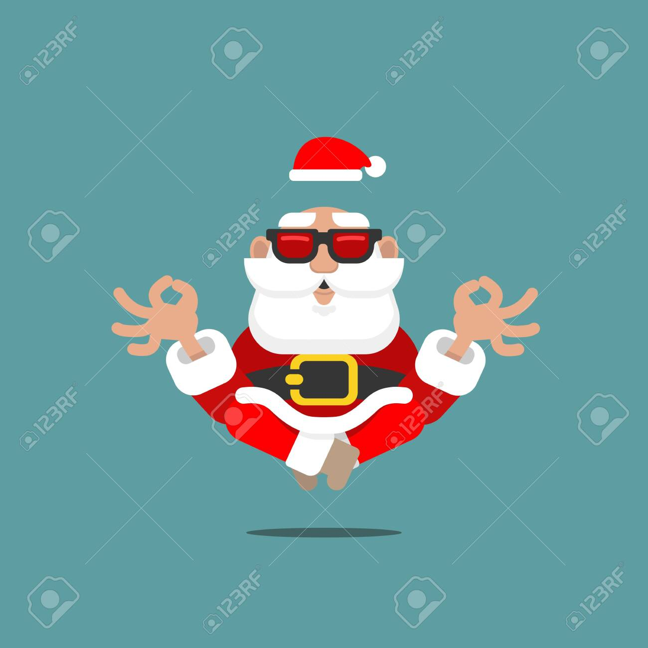 Older Santa Claus in meditation levitating in the air with sunglasses in a relaxing mental position of Yoga symbolizing a spiritual symbol of OM. - 131636933