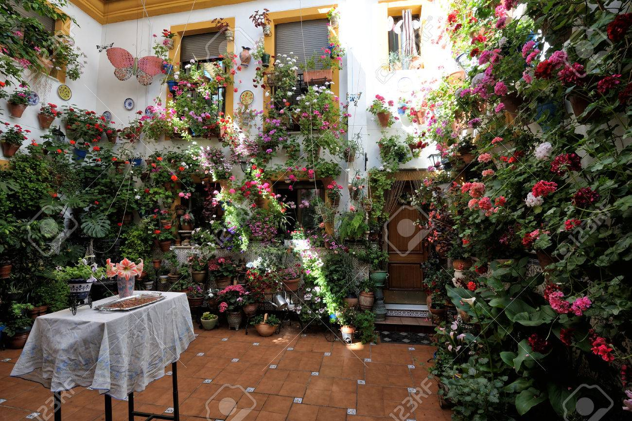 Courtyard During The Festival Of The Patios (el Festival De Los Patios  Cordobeses),