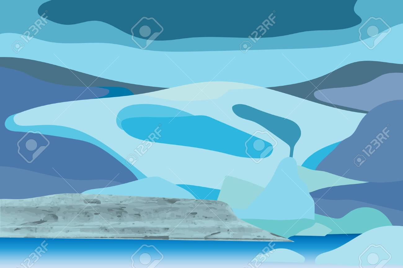 vector illustration of glacier with natural texture - 148478875
