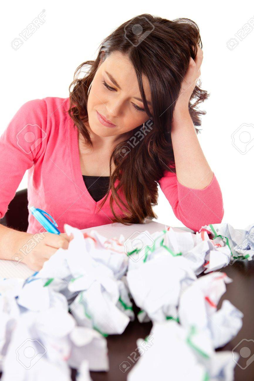 uninspired female student attempting to write an essay stock photo uninspired female student attempting to write an essay stock photo 9628771