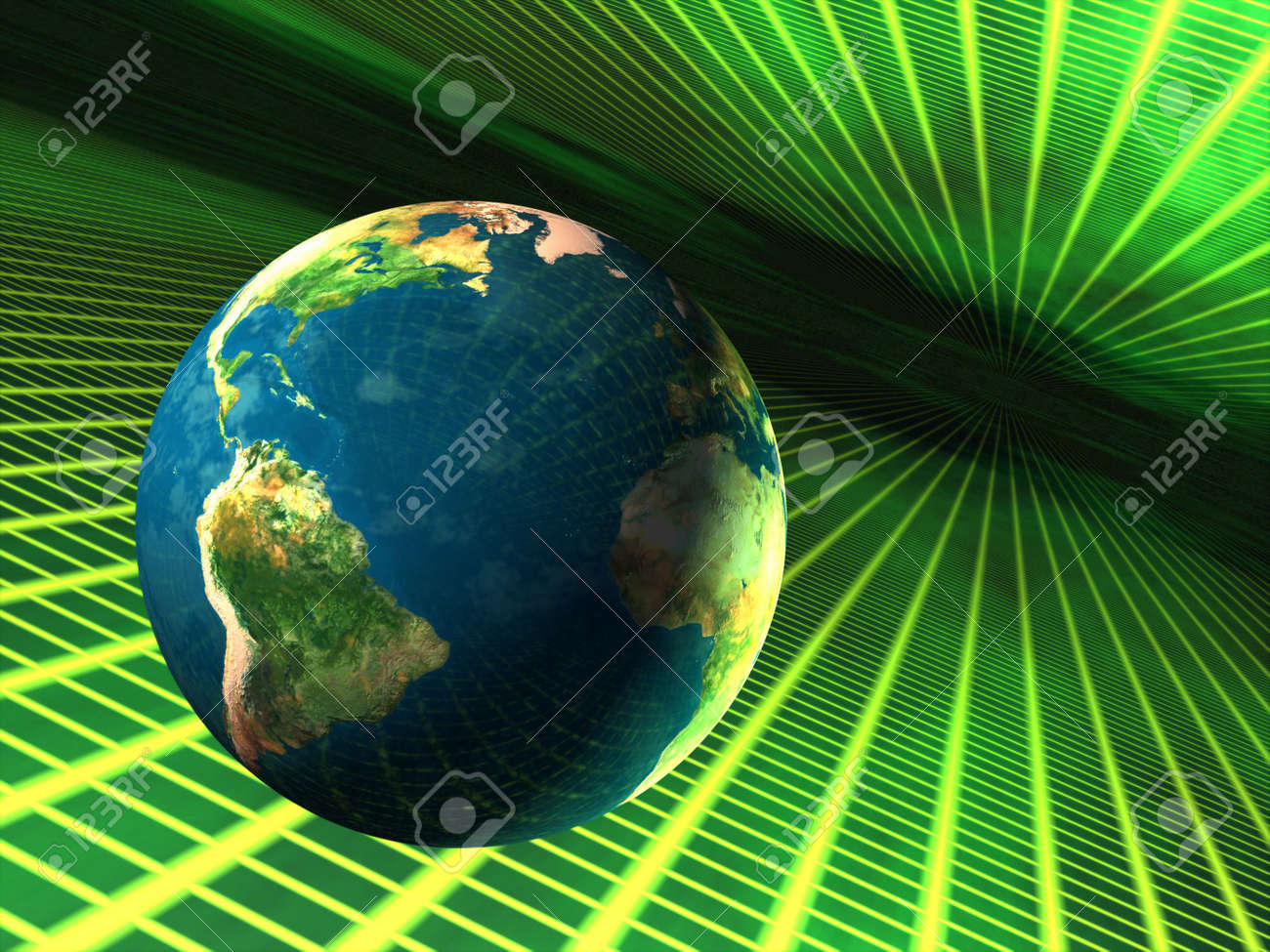 Planet earth travelling through cyberspace Stock Photo - 333255