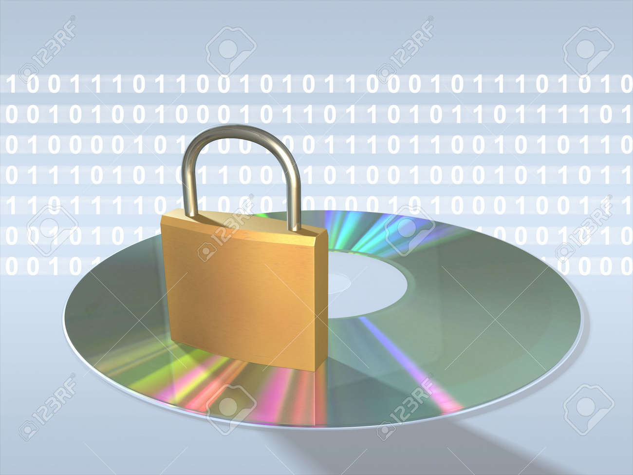 Protecting sensitive data. Keylock, cd and data stream. Digital illustration. Stock Illustration - 830494