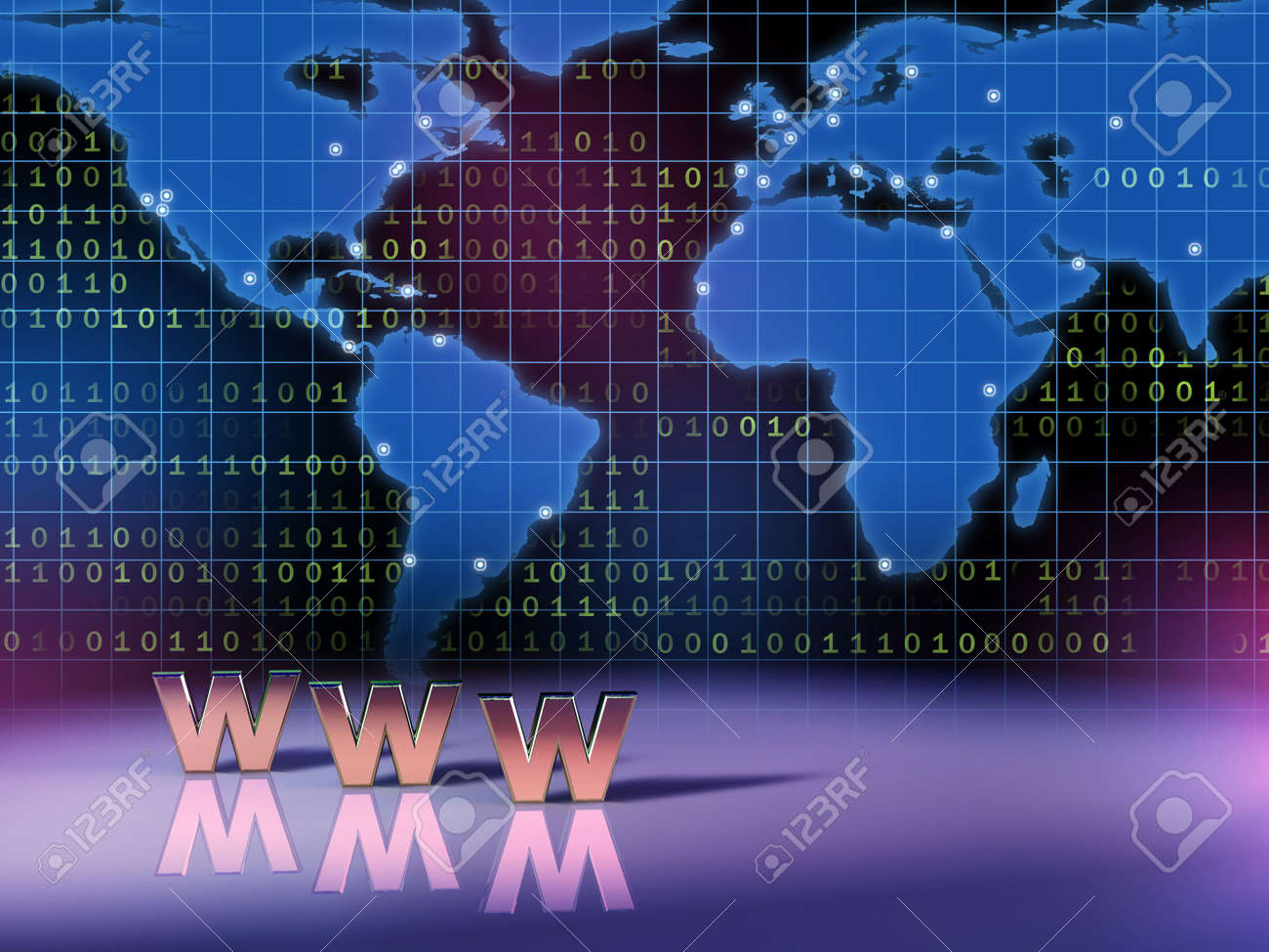World wide web symbol in front of a world map. Digital illustration. Stock Illustration - 2520260