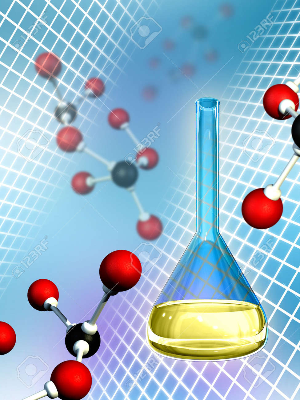Molecules and lab flask. Digital illustration. Stock Photo - 2972546