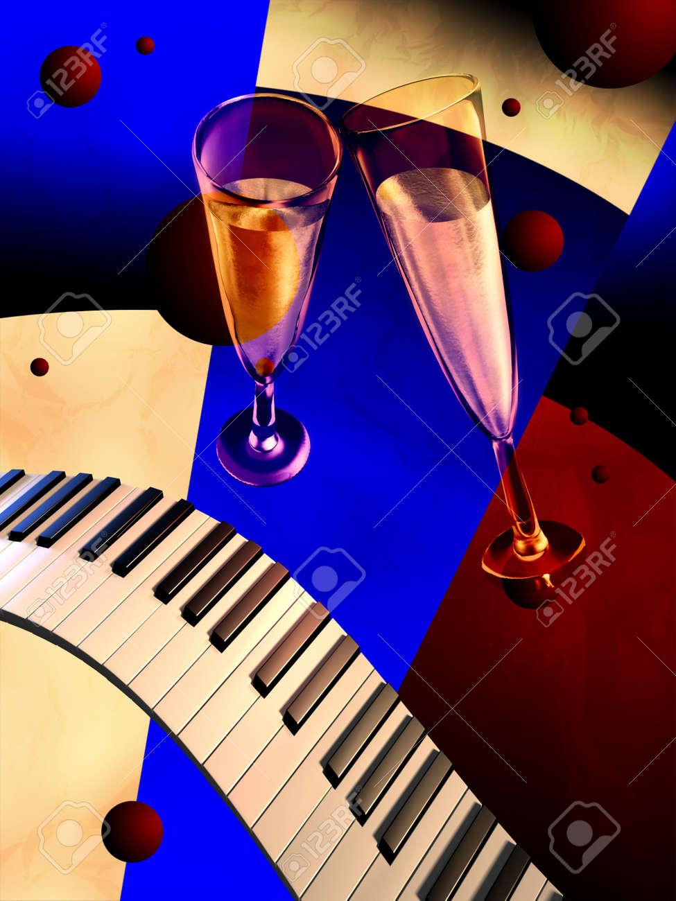 Piano keyboards, glasses and art dec� background. Digital illustration. Stock Illustration - 2972542