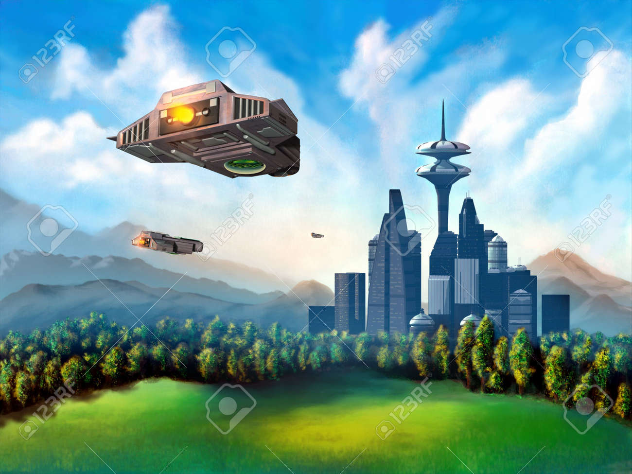 Space ships travelling to a futuristic city. Mixed media illustration. Stock Photo - 3135436