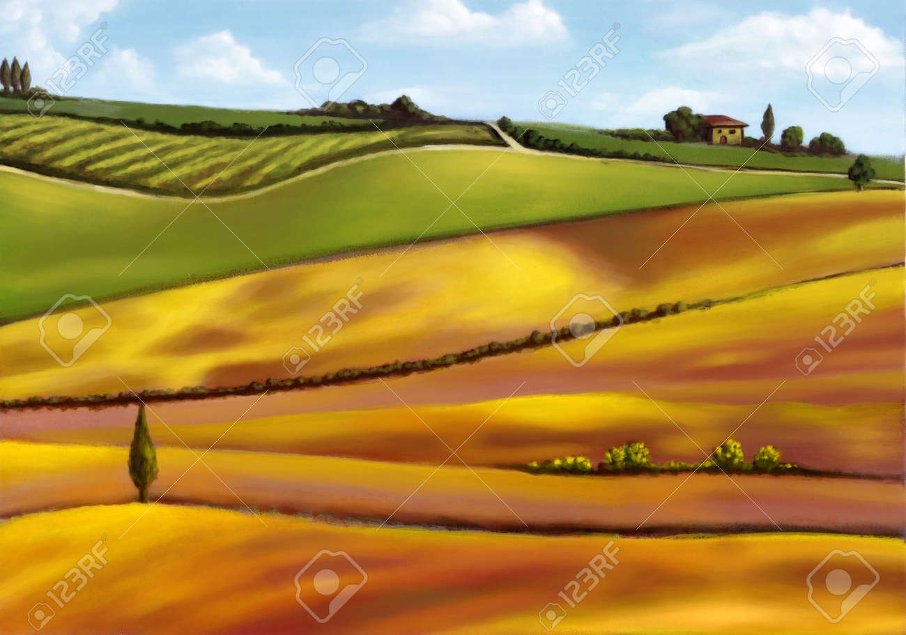 Farmland in Tuscany, Italy. Original mixed media illustration. Stock Illustration - 3276386