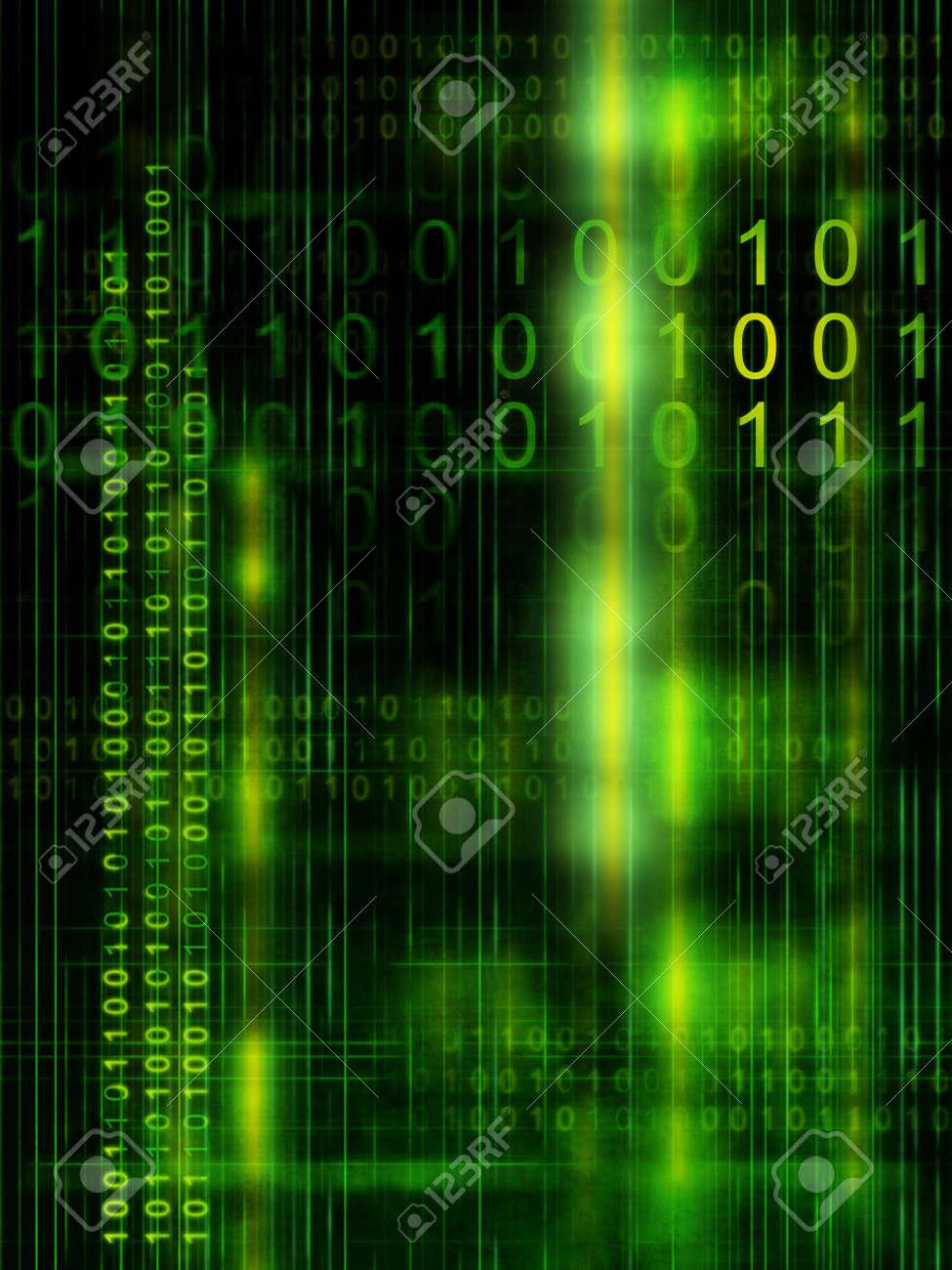 Binary code streams on high technology background. Digital illustration Stock Illustration - 3385521