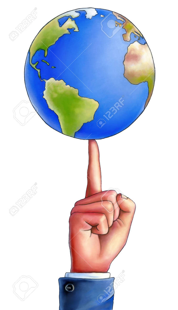 bussiness man spinning an earth globe on the top of his finger