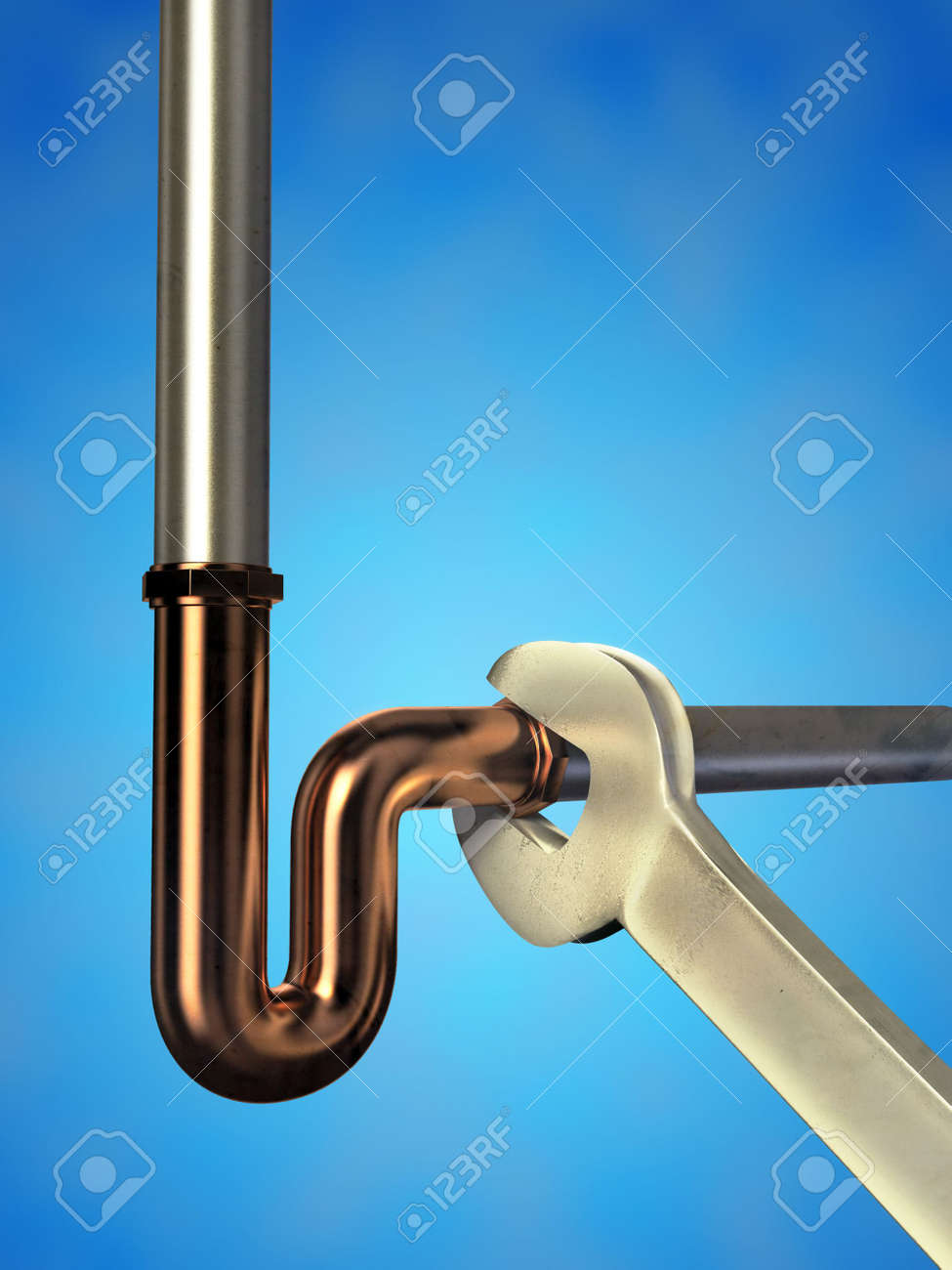 Wench fastening some metal pipes. Digital illustration. Stock Photo - 3597943