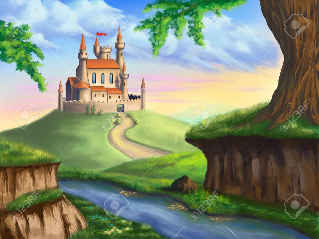 豪華な風景でファンタジーの城デジタルのオリジナル イラスト の写真
