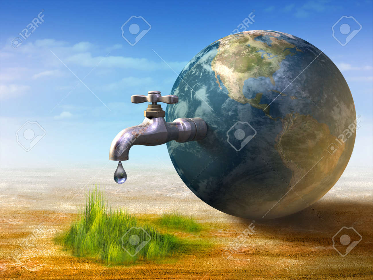 Earth Water Resources Generating New Life. Digital Illustration ...
