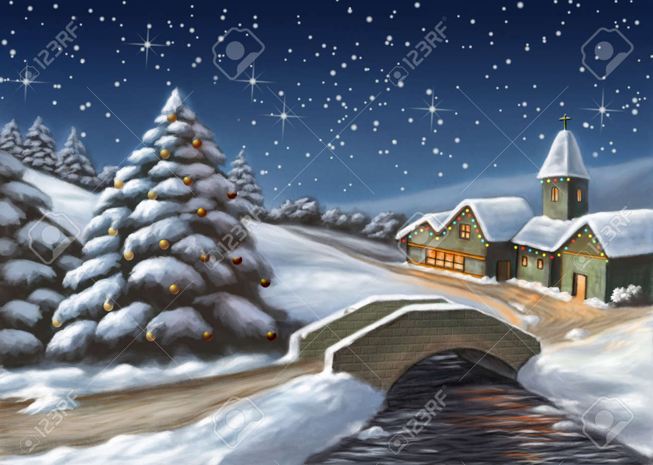 魅惑のクリスマス風景デジタル イラストです の写真素材画像素材